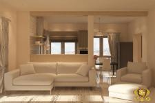 3Д-визуализация гостинной в Греции